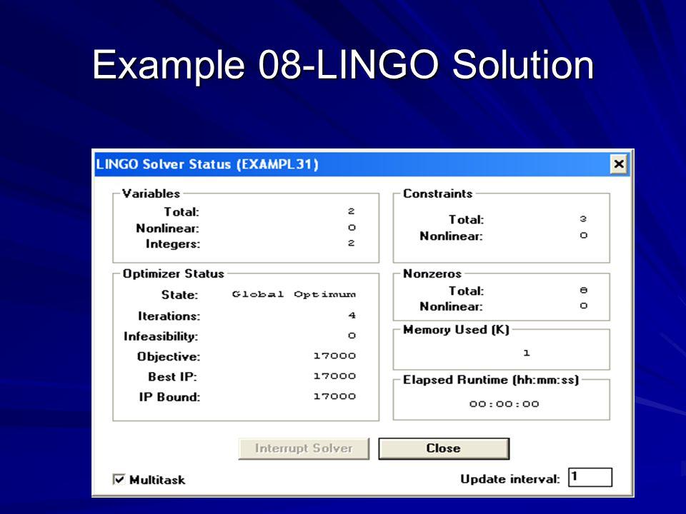 Example 08-LINGO Solution