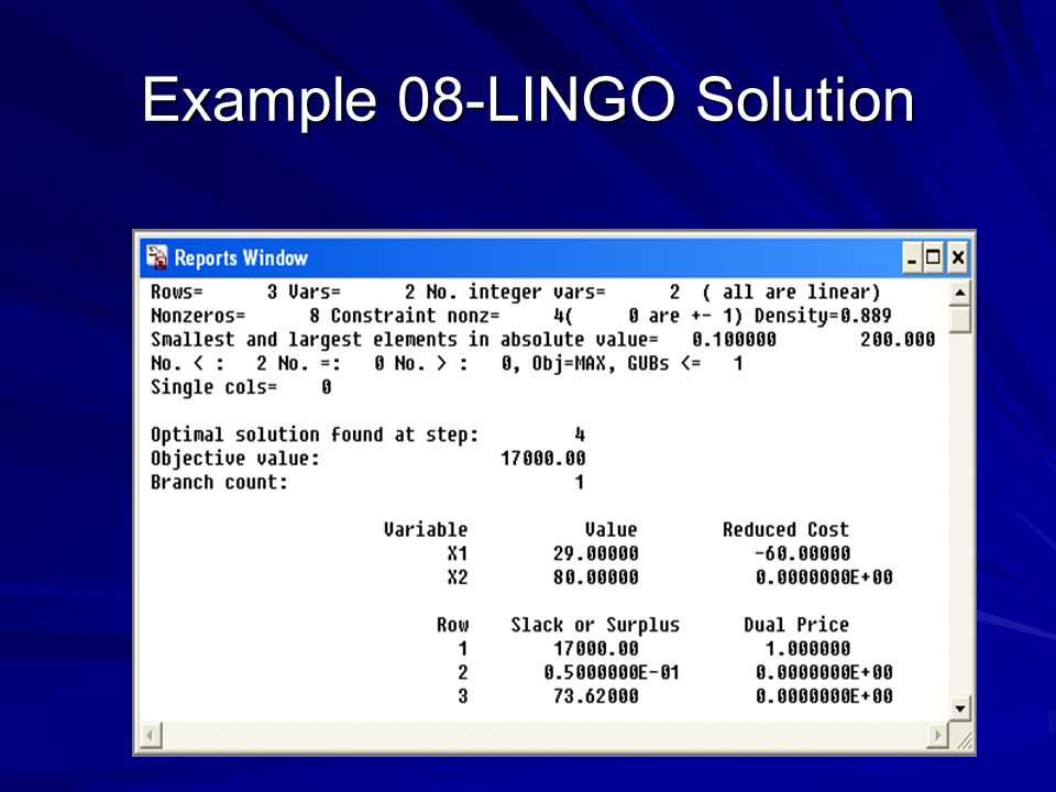 Example 08-LINGO Solution