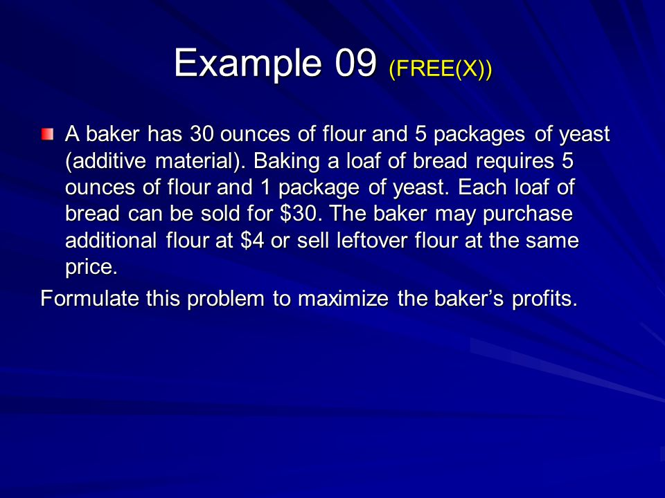 Example 09 (FREE(X))