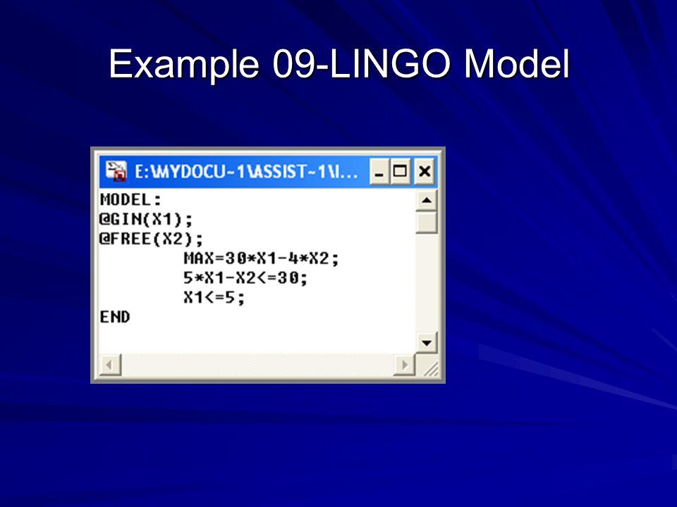 Example 09-LINGO Model