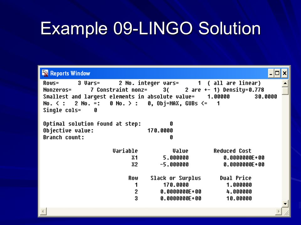Example 09-LINGO Solution