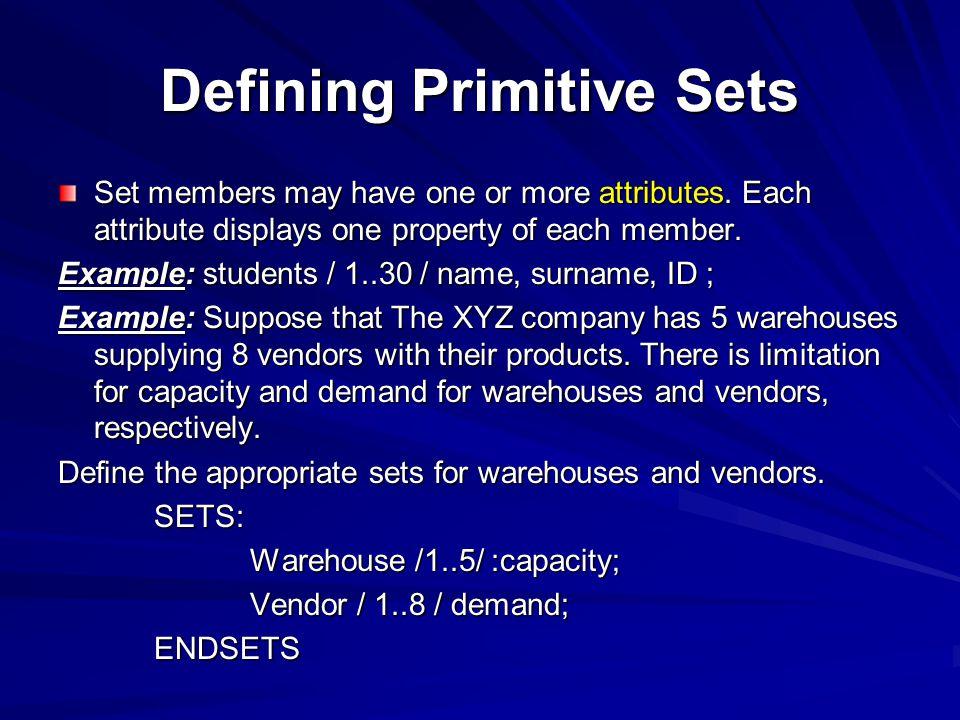 Defining Primitive Sets