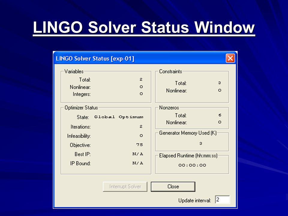 LINGO Solver Status Window
