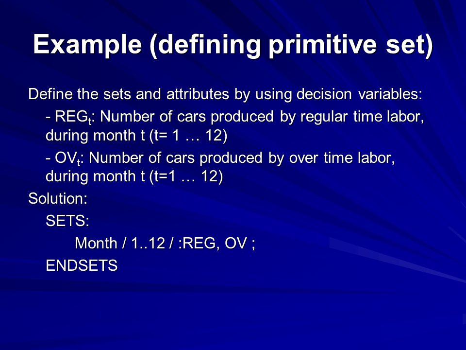 Example (defining primitive set)