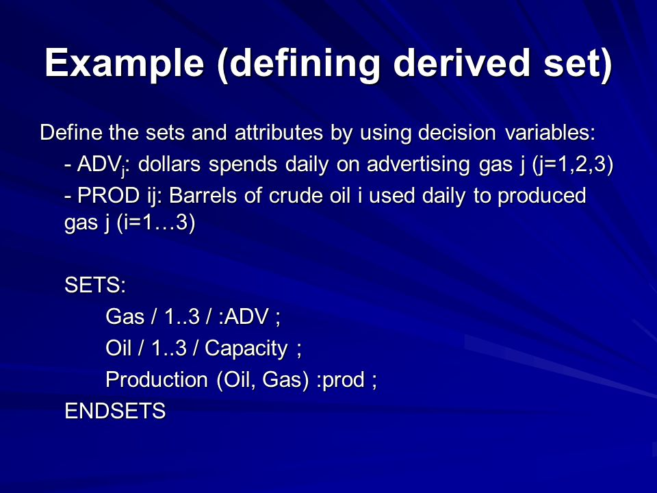 Example (defining derived set)