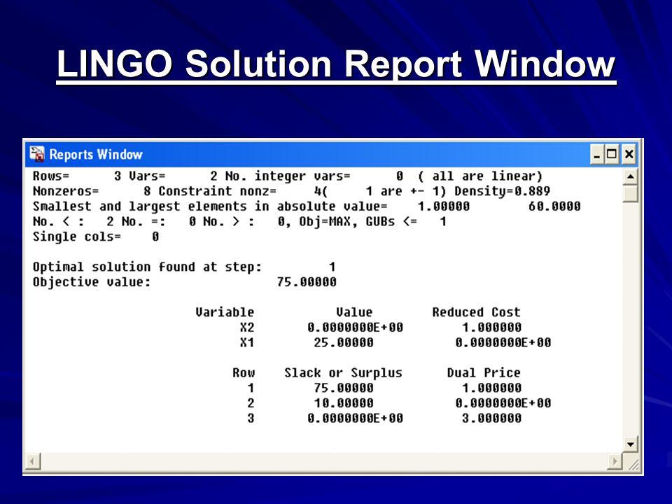 LINGO Solution Report Window