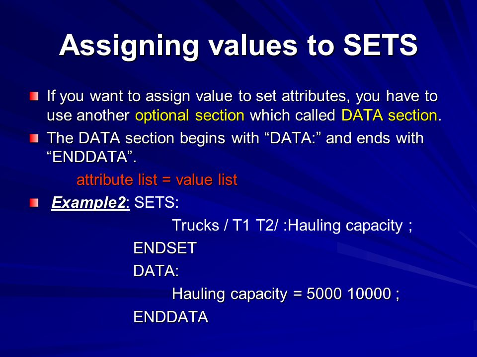 Assigning values to SETS