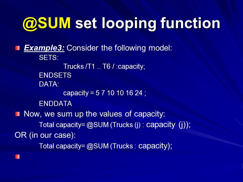 @SUM set looping function