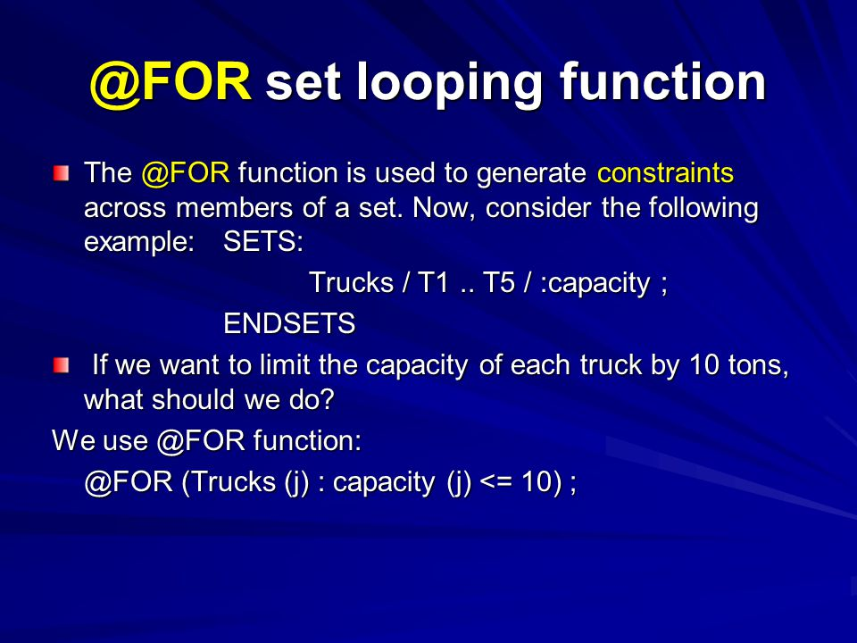 @FOR set looping function