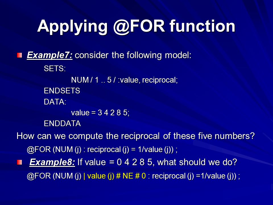 Applying @FOR function