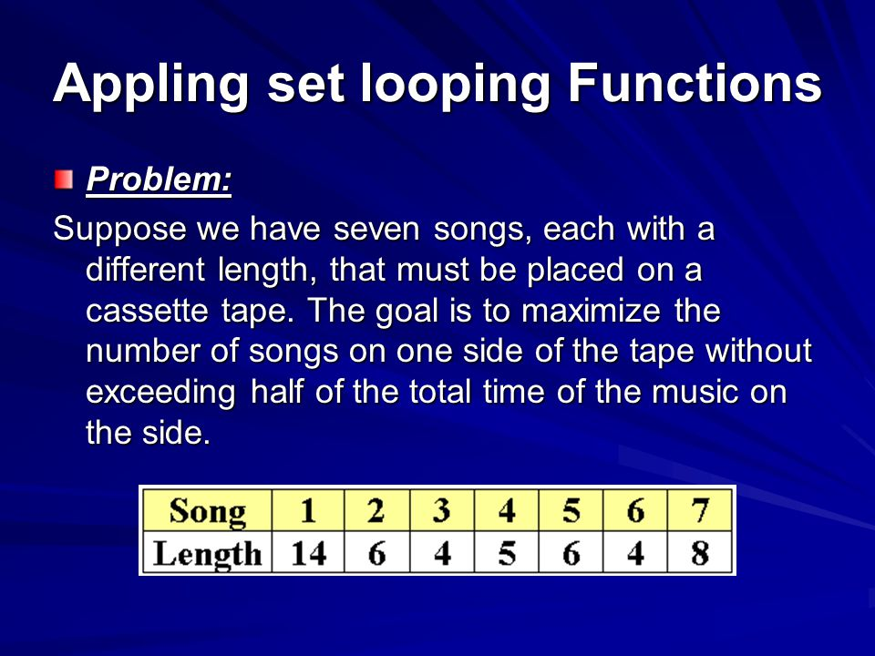 Appling set looping Functions