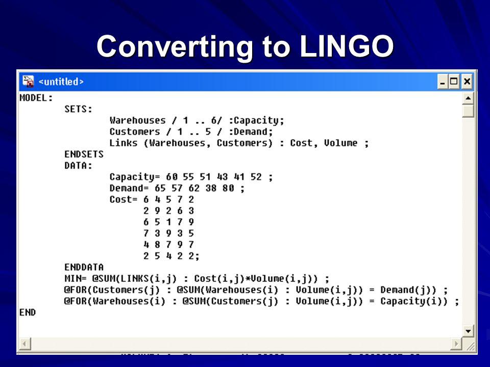 Converting to LINGO