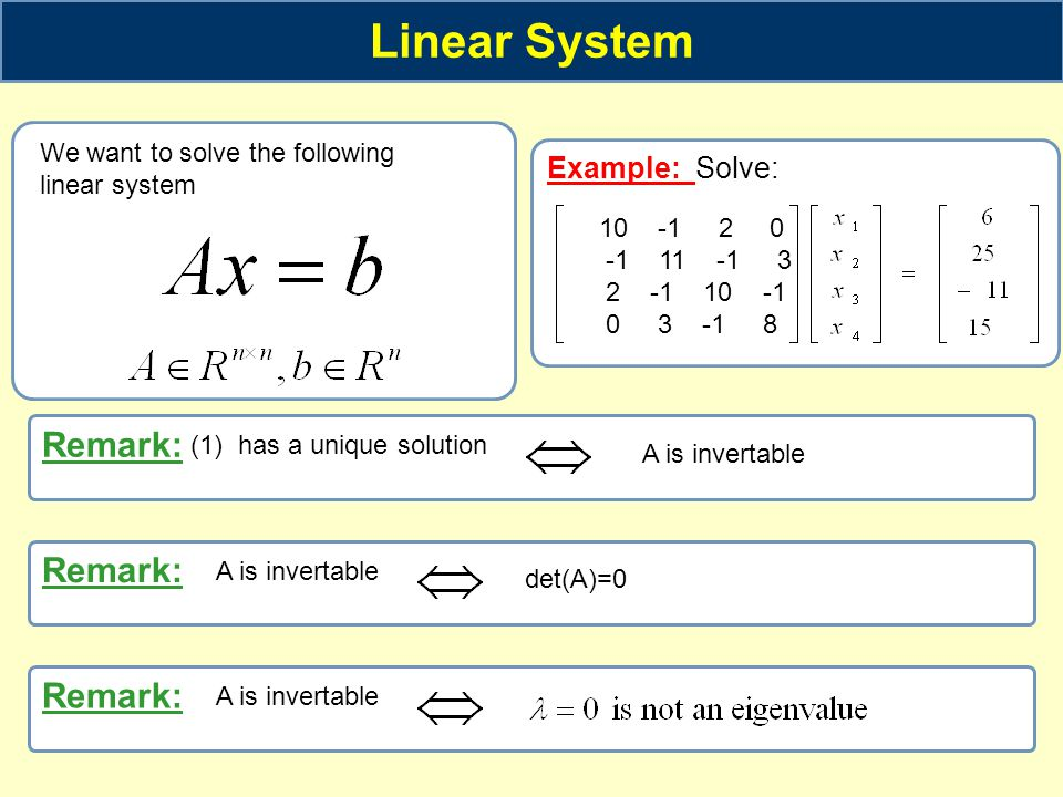 Linear System Remark: Remark: Remark: Example: Solve:
