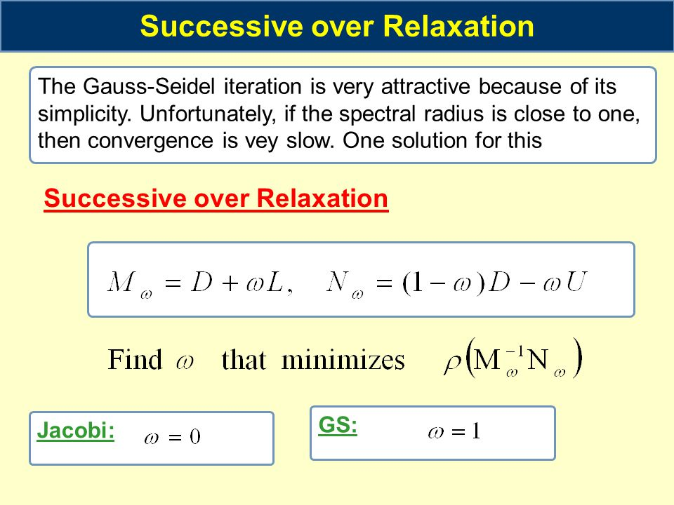 Successive over Relaxation Successive over Relaxation