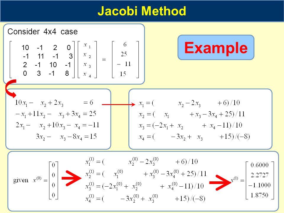 Example Jacobi Method Consider 4x4 case 10 -1 2 0 -1 11 -1 3