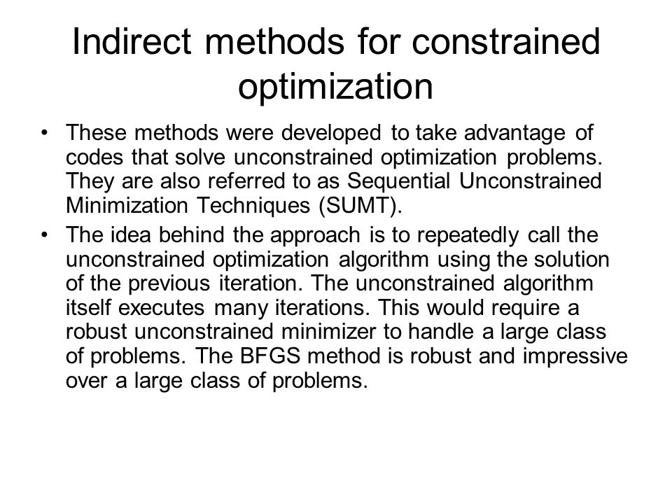 Indirect methods for constrained optimization