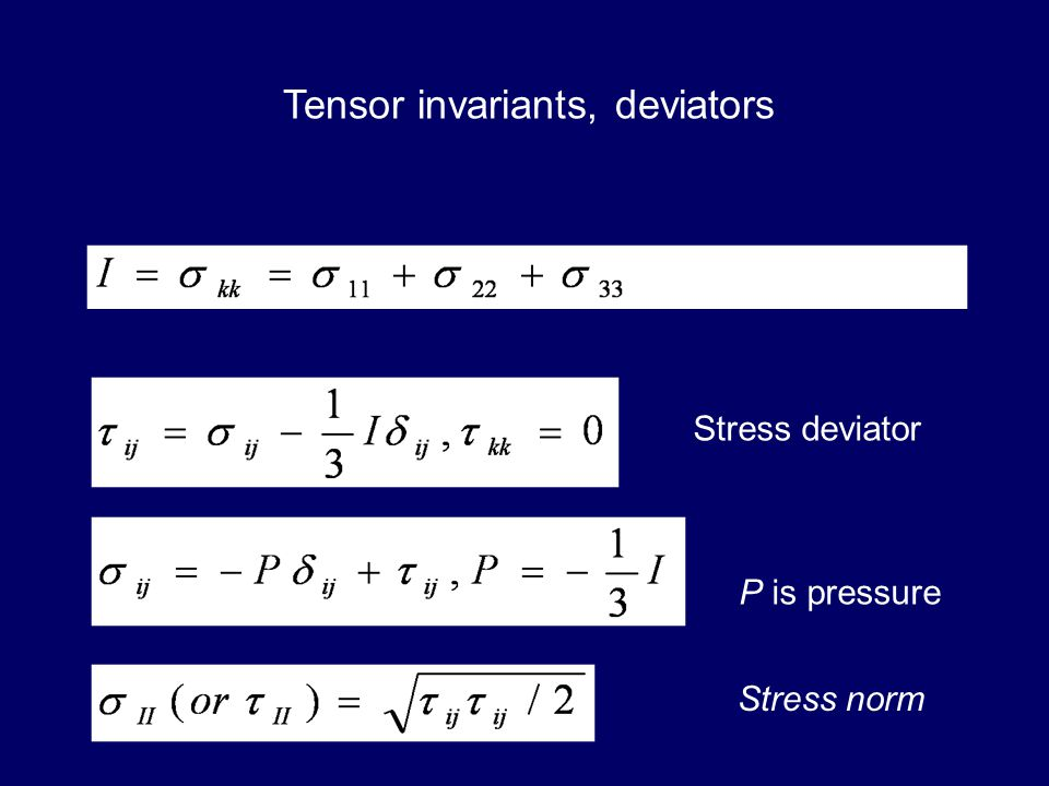 Tensor invariants, deviators