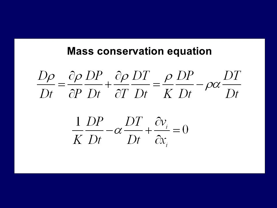 Mass conservation equation