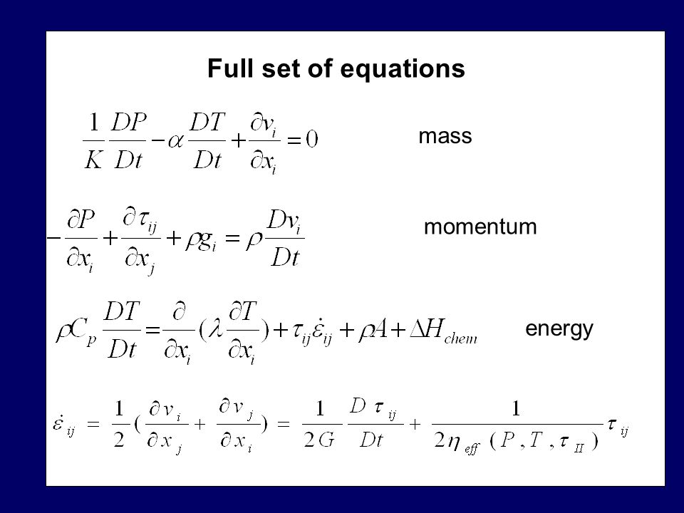 Full set of equations mass momentum energy