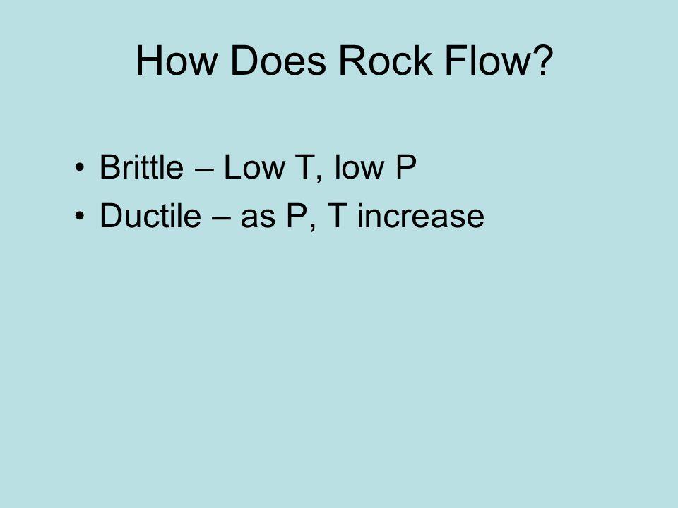 How Does Rock Flow Brittle – Low T, low P Ductile – as P, T increase