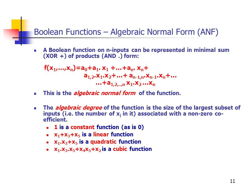 Boolean Functions – Algebraic Normal Form (ANF)