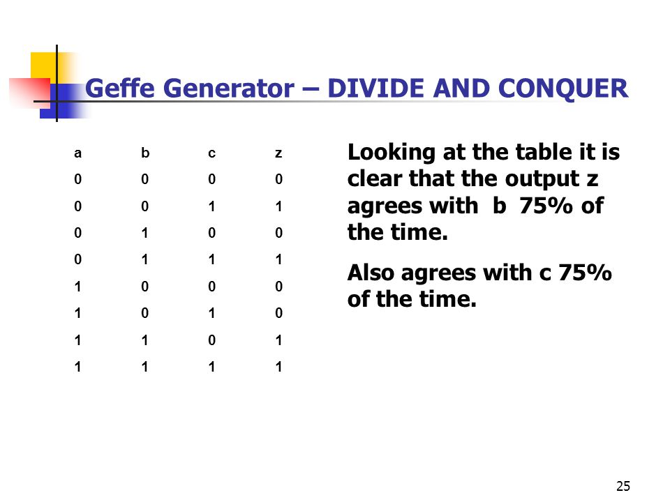 Geffe Generator – DIVIDE AND CONQUER