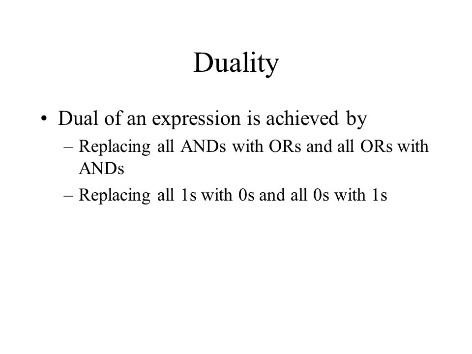 Duality Dual of an expression is achieved by