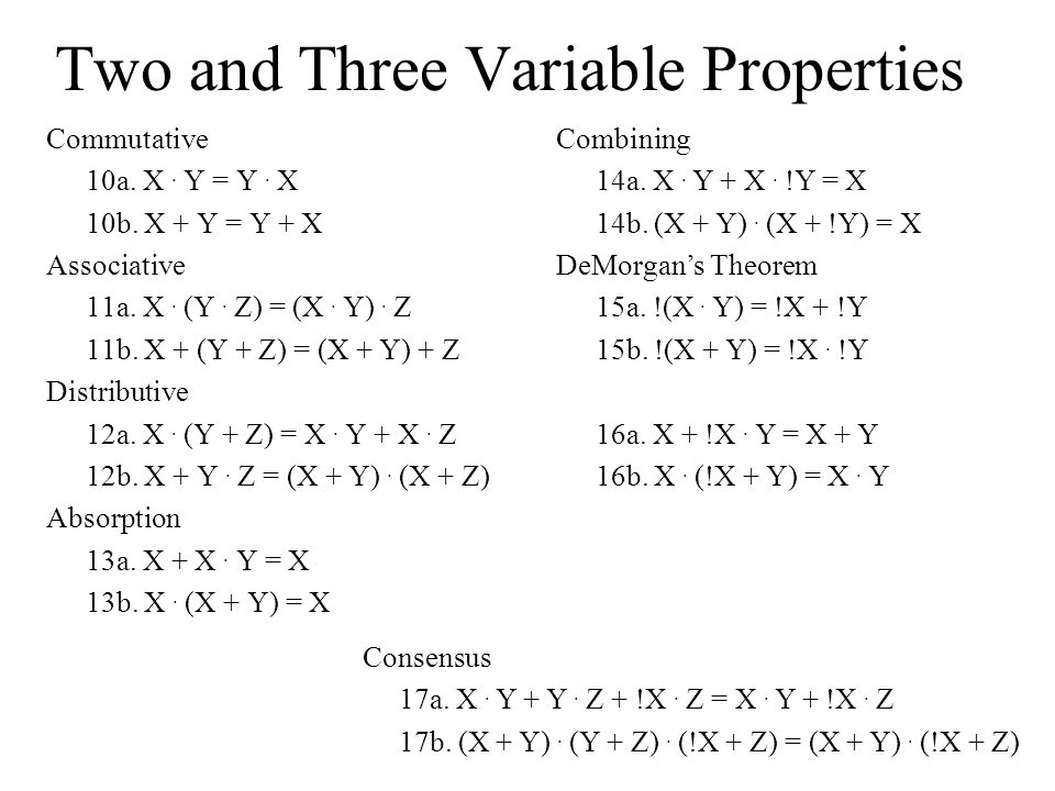 Two and Three Variable Properties