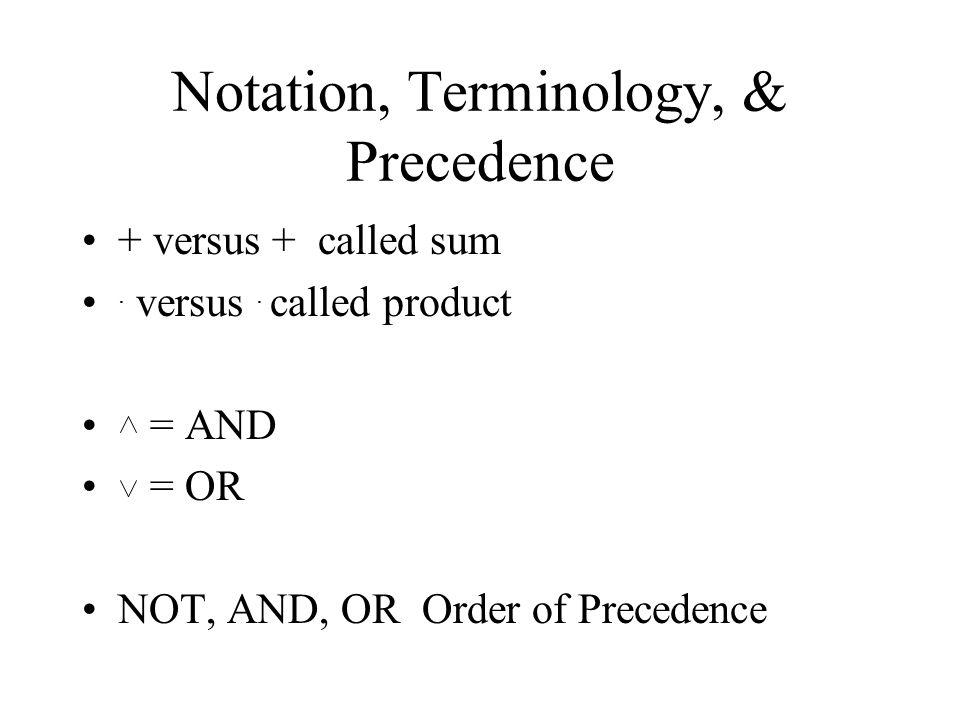 Notation, Terminology, & Precedence