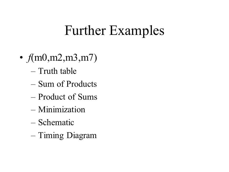 Further Examples f(m0,m2,m3,m7) Truth table Sum of Products