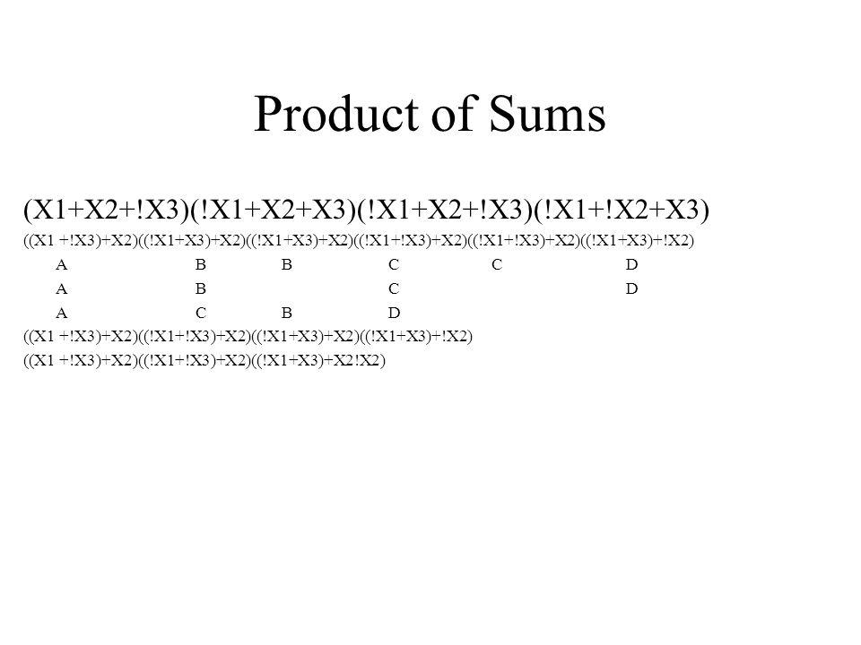 Product of Sums (X1+X2+!X3)(!X1+X2+X3)(!X1+X2+!X3)(!X1+!X2+X3)