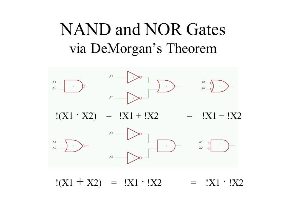 NAND and NOR Gates via DeMorgan's Theorem