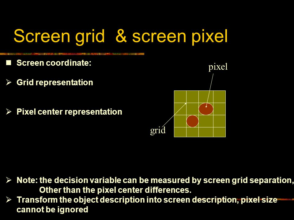 Screen grid & screen pixel