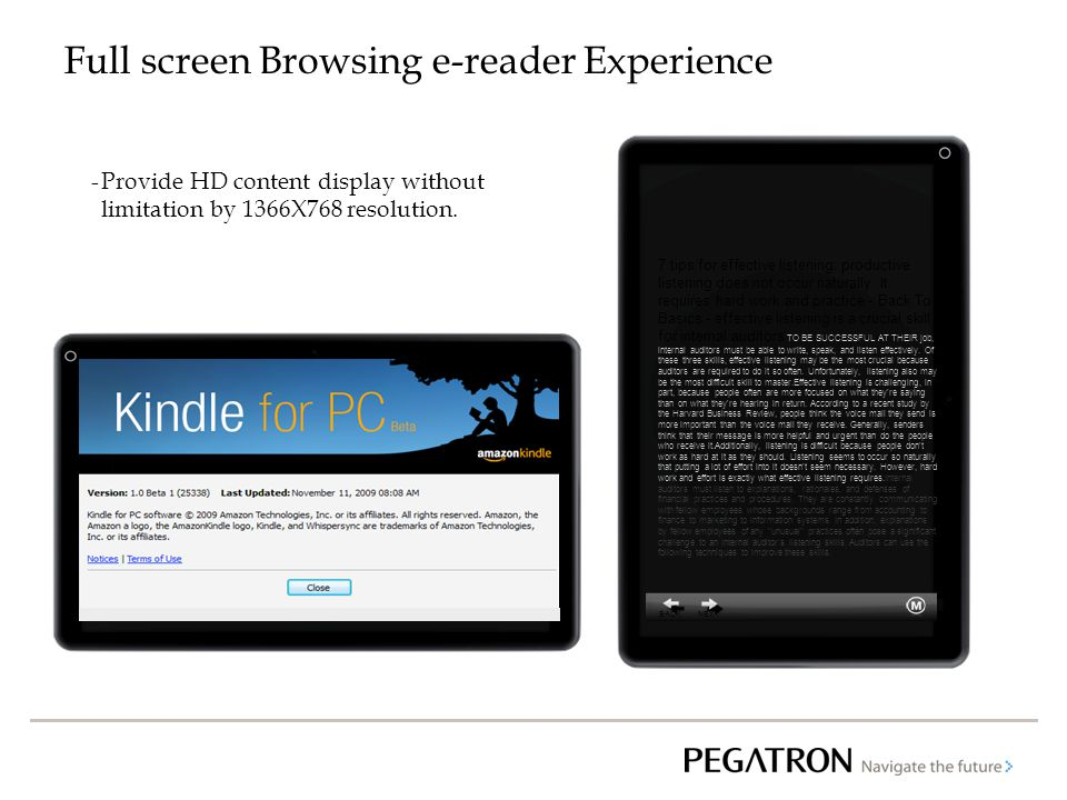 Full screen Browsing e-reader Experience