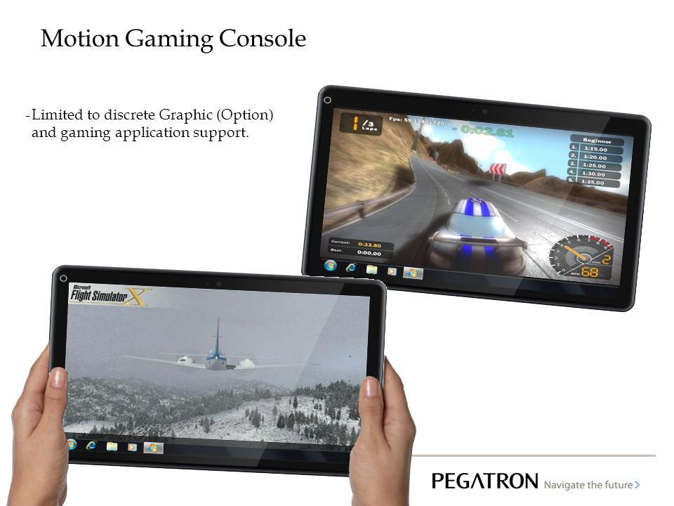 Motion Gaming Console Limited to discrete Graphic (Option) and gaming application support.