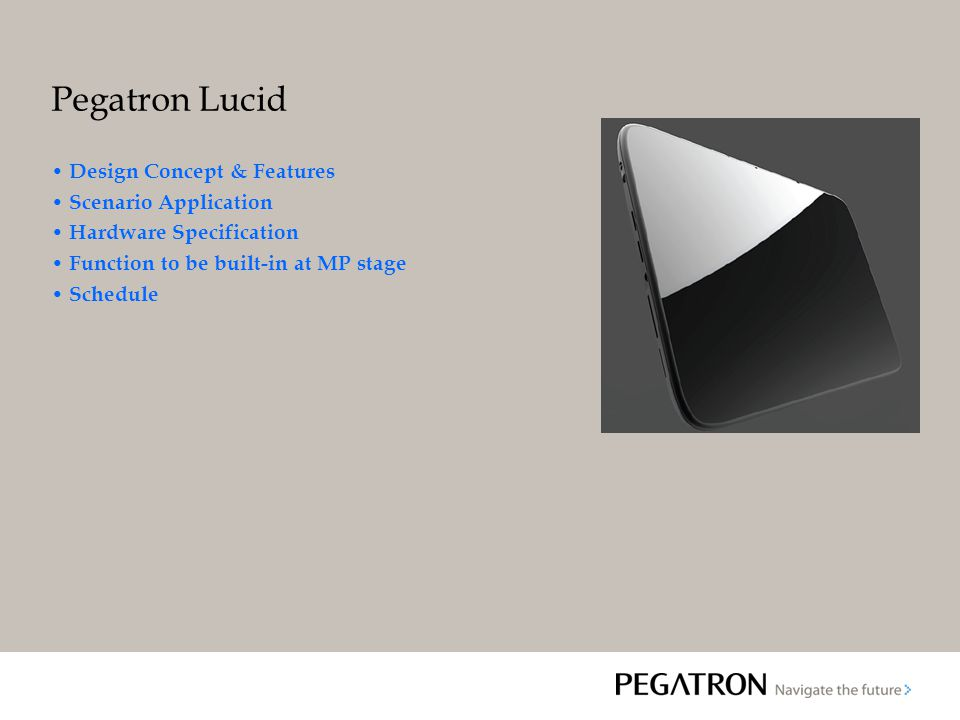 Pegatron Lucid Design Concept & Features Scenario Application