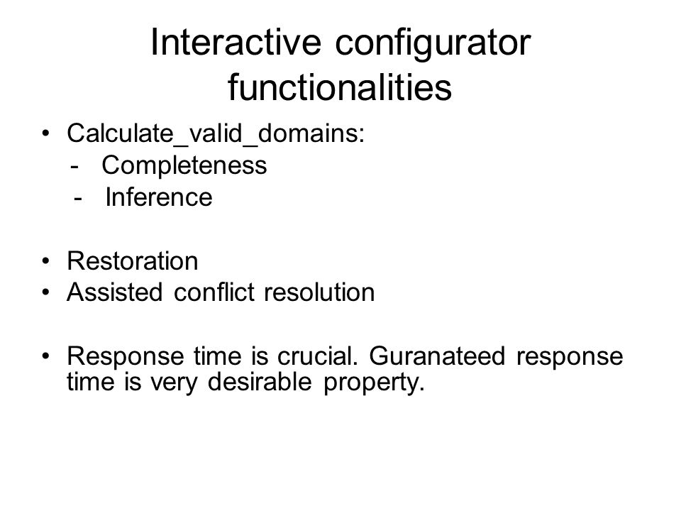 Interactive configurator functionalities