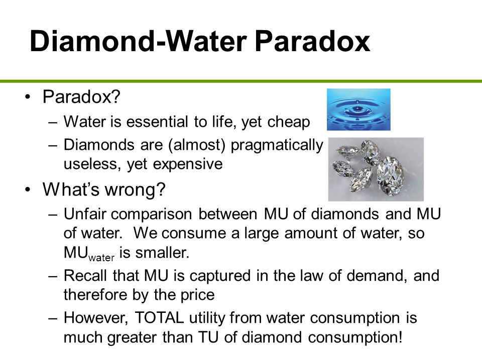 diamond water paradox essay Explain the value paradox or water diamond paradox in economics menu  can be used to resolve the water-diamond paradox  essay writing.