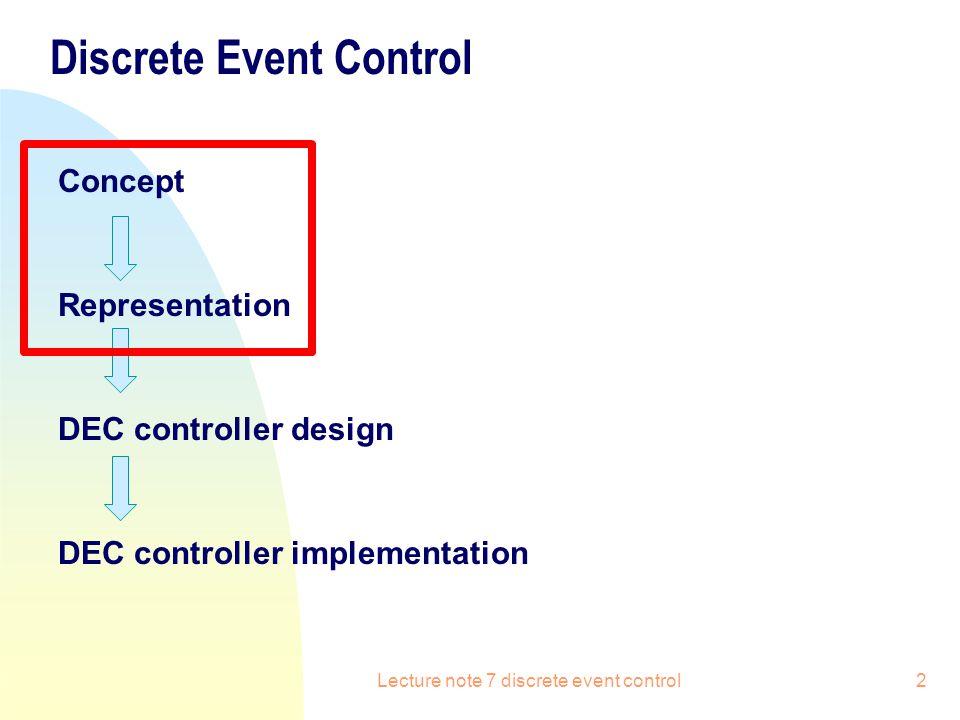 Discrete Event Control