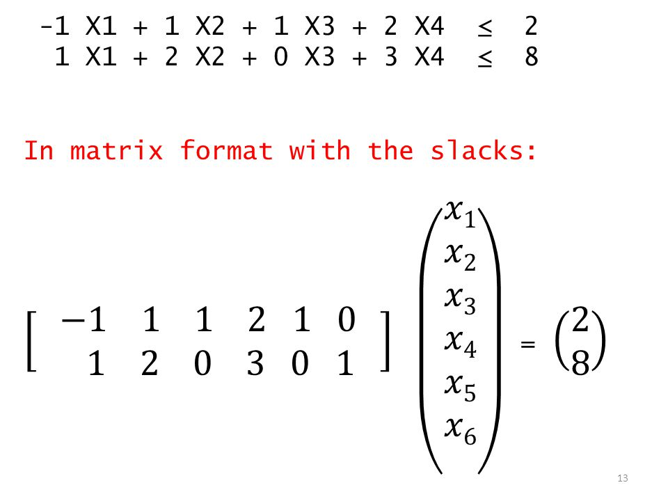 -1 X1 + 1 X2 + 1 X3 + 2 X4 ≤ 2 1 X1 + 2 X2 + 0 X3 + 3 X4 ≤ 8. In matrix format with the slacks: