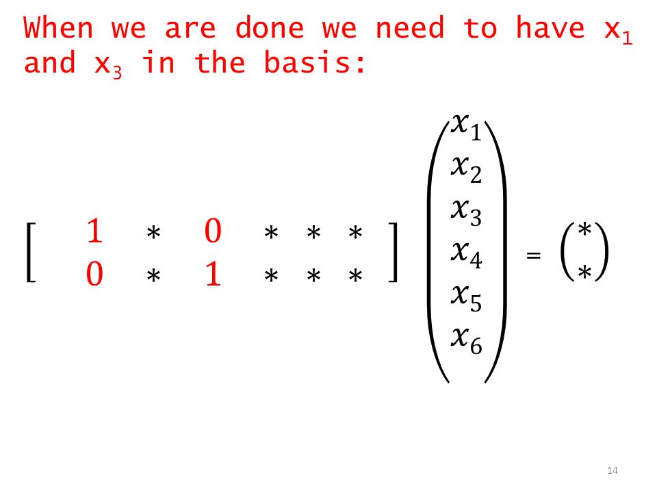 When we are done we need to have x1 and x3 in the basis: