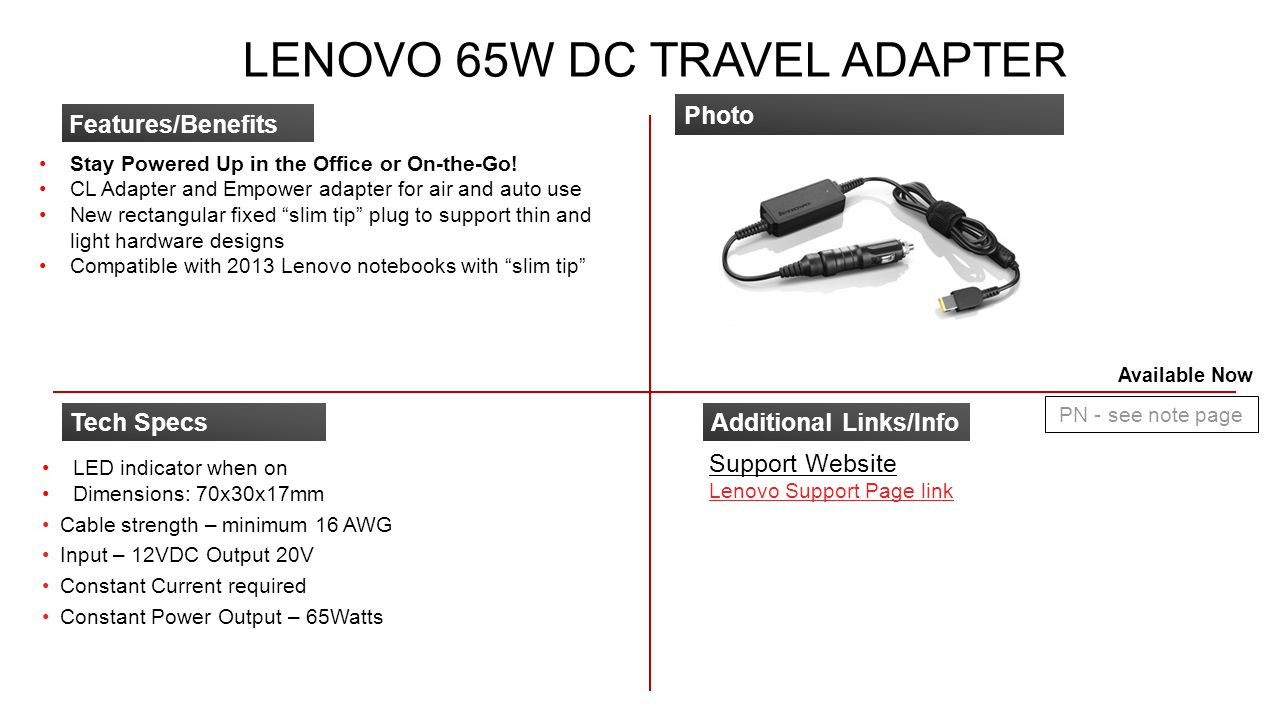 Lenovo 65W DC Travel Adapter