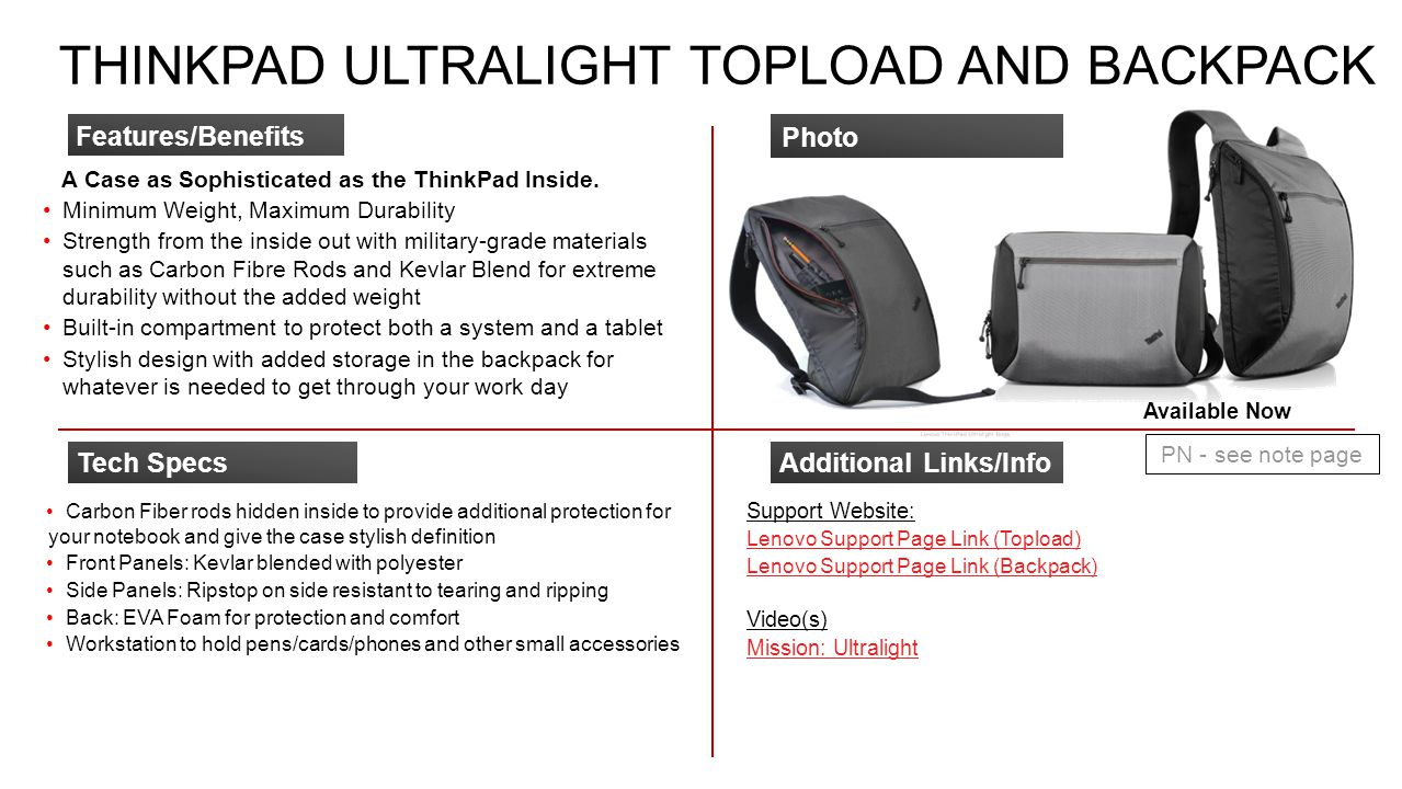 ThinkPad Ultralight Topload and Backpack