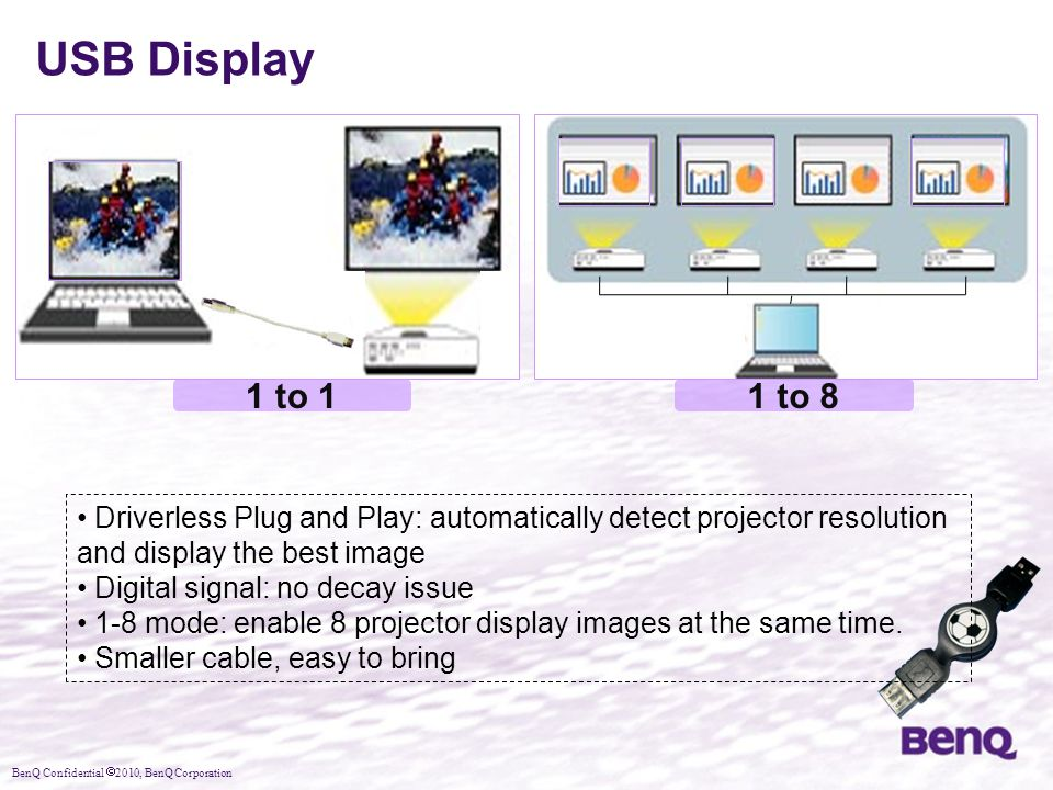 USB Display 1 to 1. 1 to 8. Driverless Plug and Play: automatically detect projector resolution and display the best image.