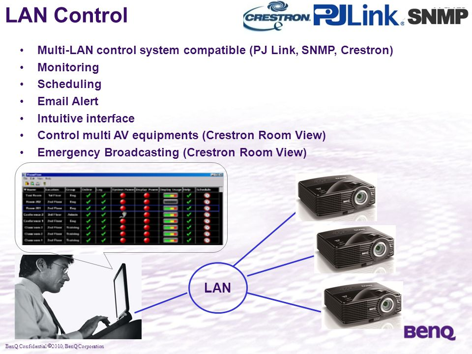 LAN Control Multi-LAN control system compatible (PJ Link, SNMP, Crestron) Monitoring. Scheduling.
