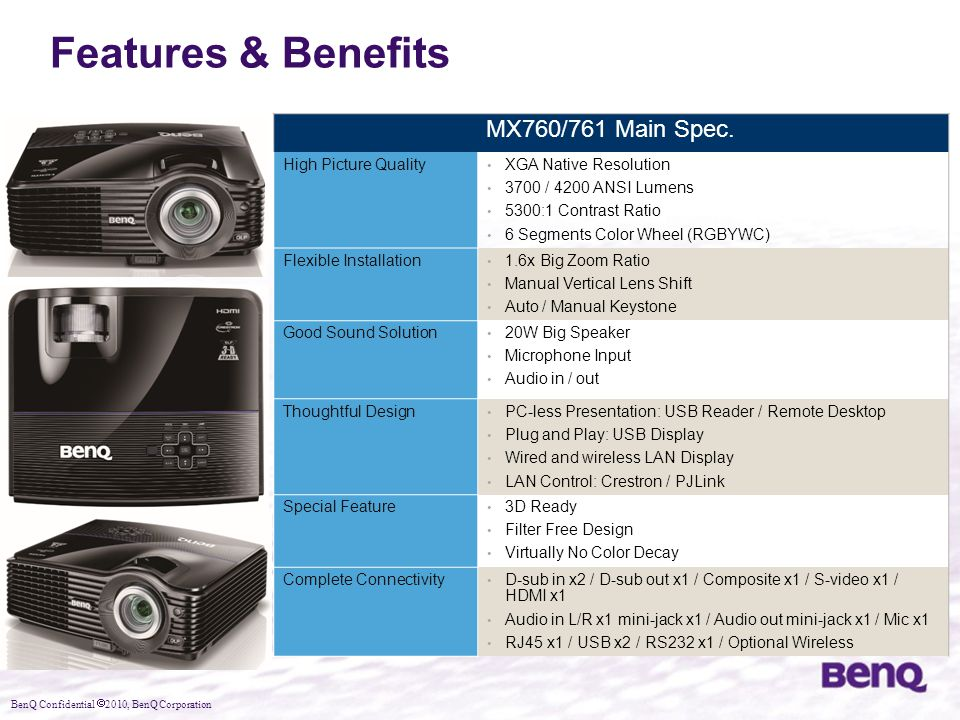 Features & Benefits MX760/761 Main Spec. High Picture Quality