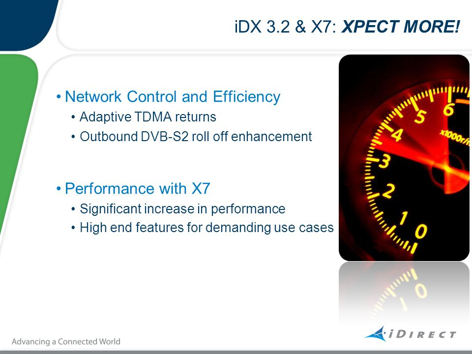 iDX 3.2 & X7: XPECT MORE! Network Control and Efficiency