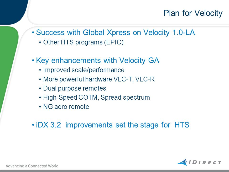 Plan for Velocity Success with Global Xpress on Velocity 1.0-LA