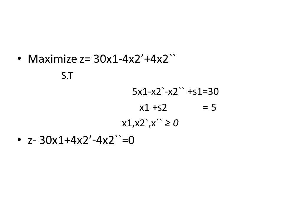 Maximize z= 30x1-4x2'+4x2`` z- 30x1+4x2'-4x2``=0 5x1-x2`-x2`` +s1=30