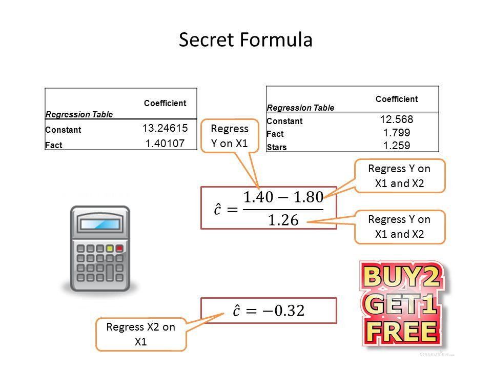 Secret Formula 𝑐 = 1.40−1.80 1.26 𝑐 =−0.32 Regress Y on X1
